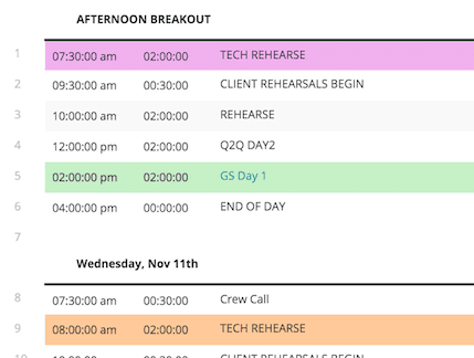 event-production-schedule